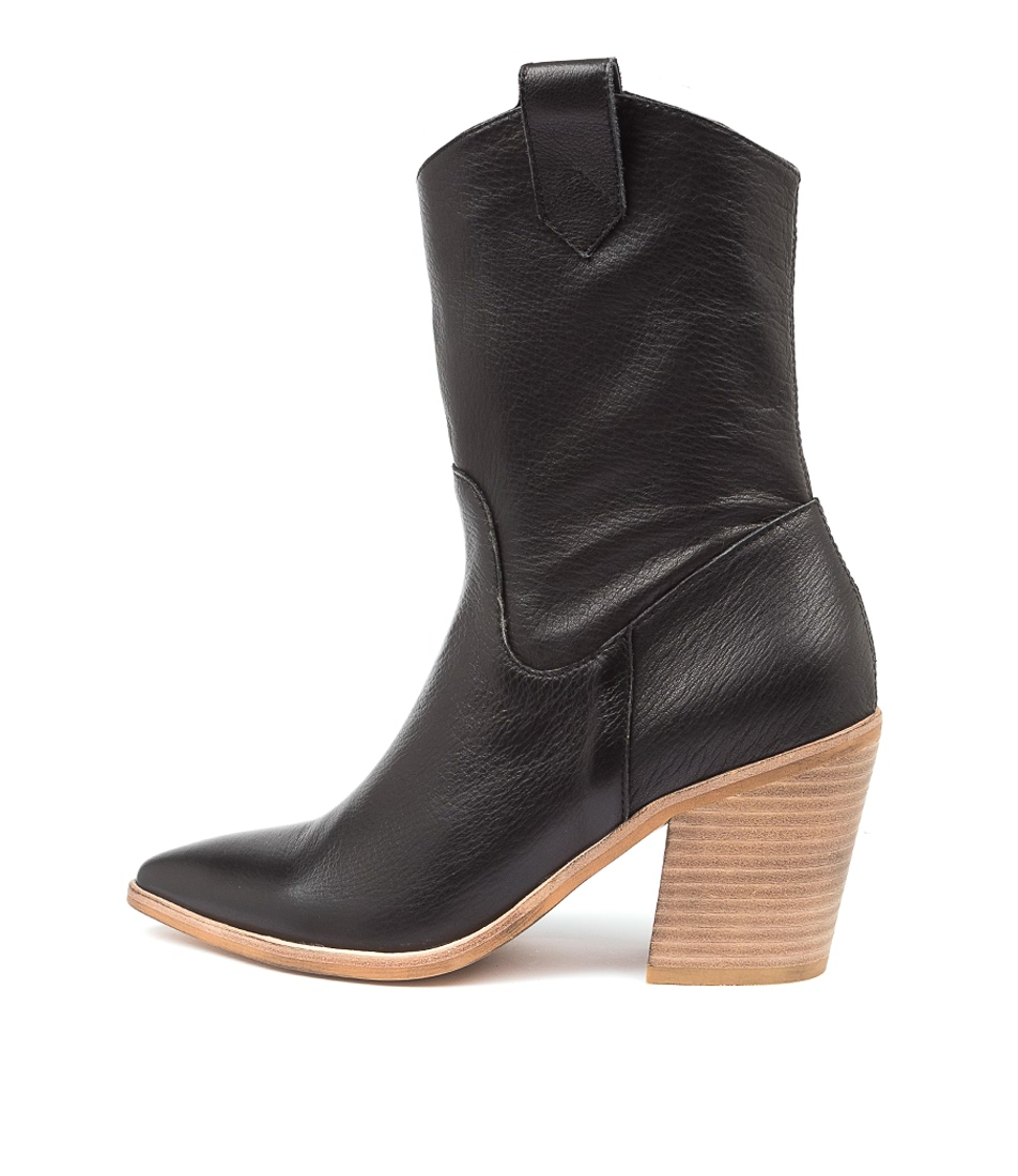 Buy Top End Munchy To Black Natural Heel Calf Boots online with free shipping