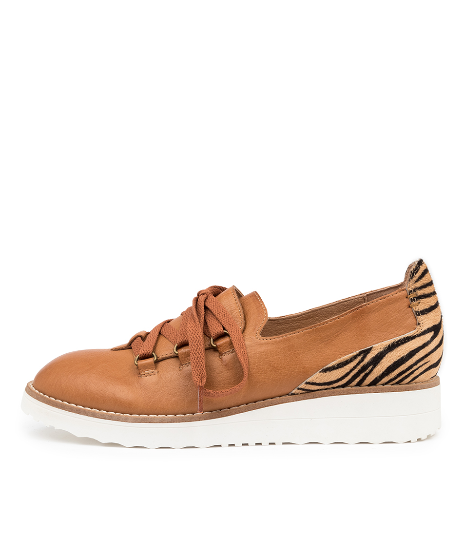 Buy Top End Oranges To Dk Tan Tan Zebra Flats online with free shipping