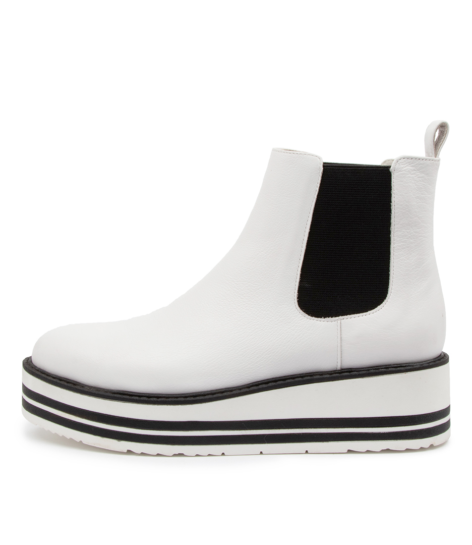 Buy Top End Shanta To White Black Ela Ankle Boots online with free shipping