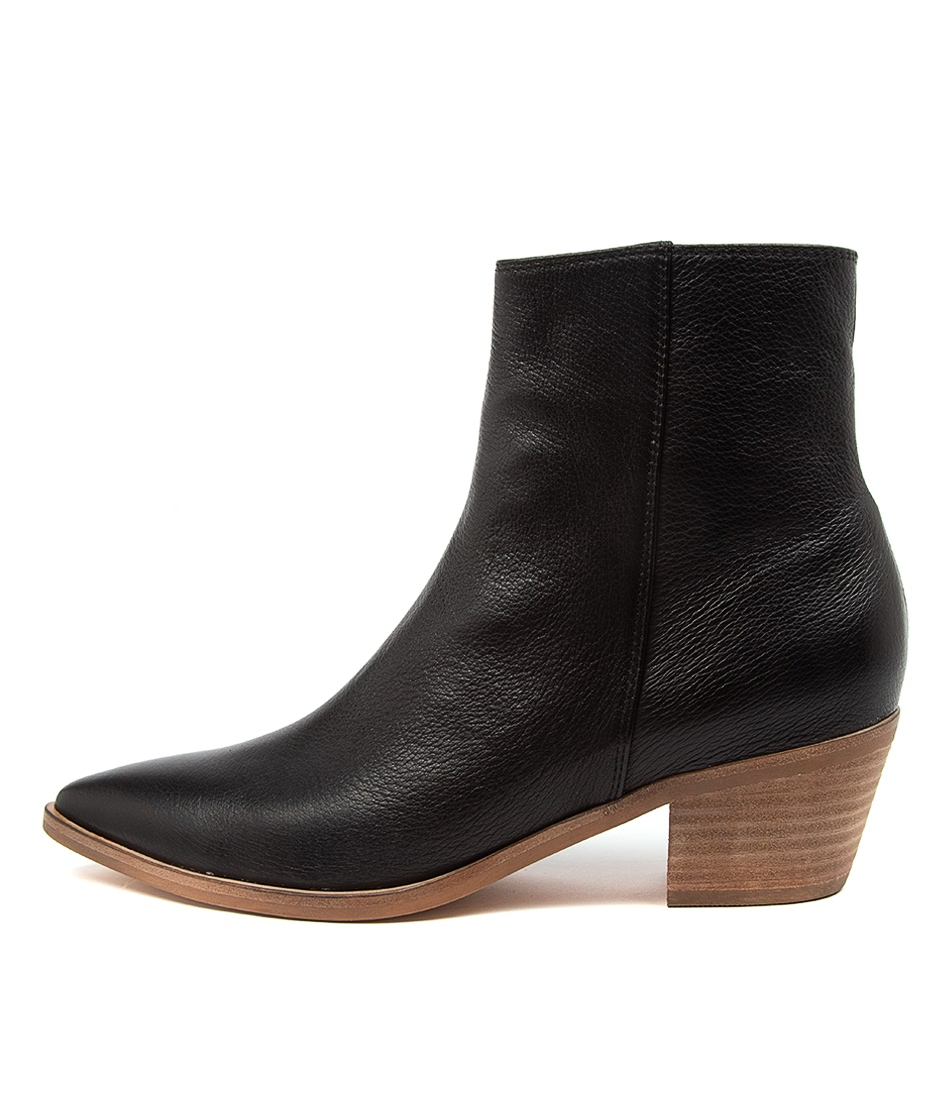 Buy Top End Troppo To Black Natural Heel Ankle Boots online with free shipping