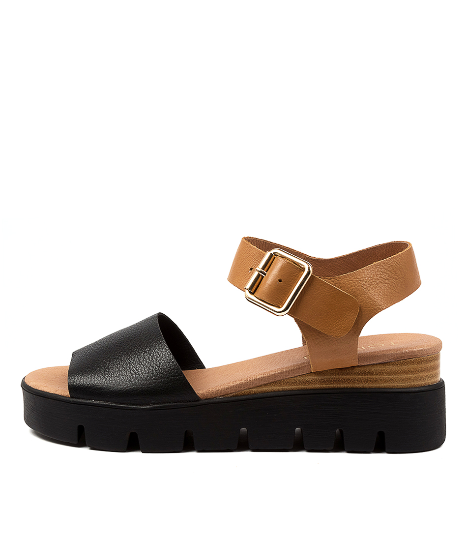 Buy Top End Reese To Black Dk Tan Flat Sandals online with free shipping