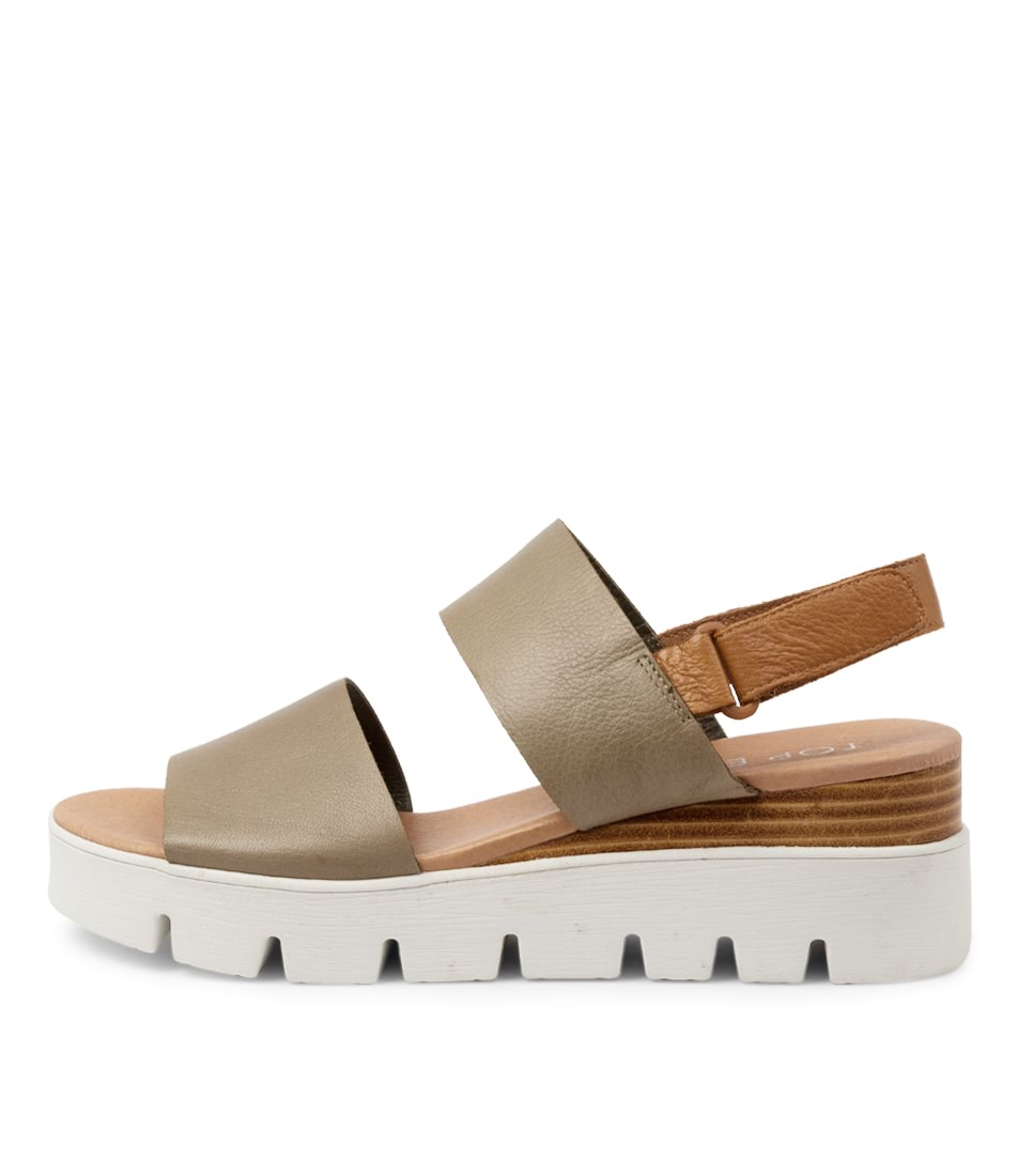 Buy Top End Runa To Olive Dk Tan Flat Sandals online with free shipping
