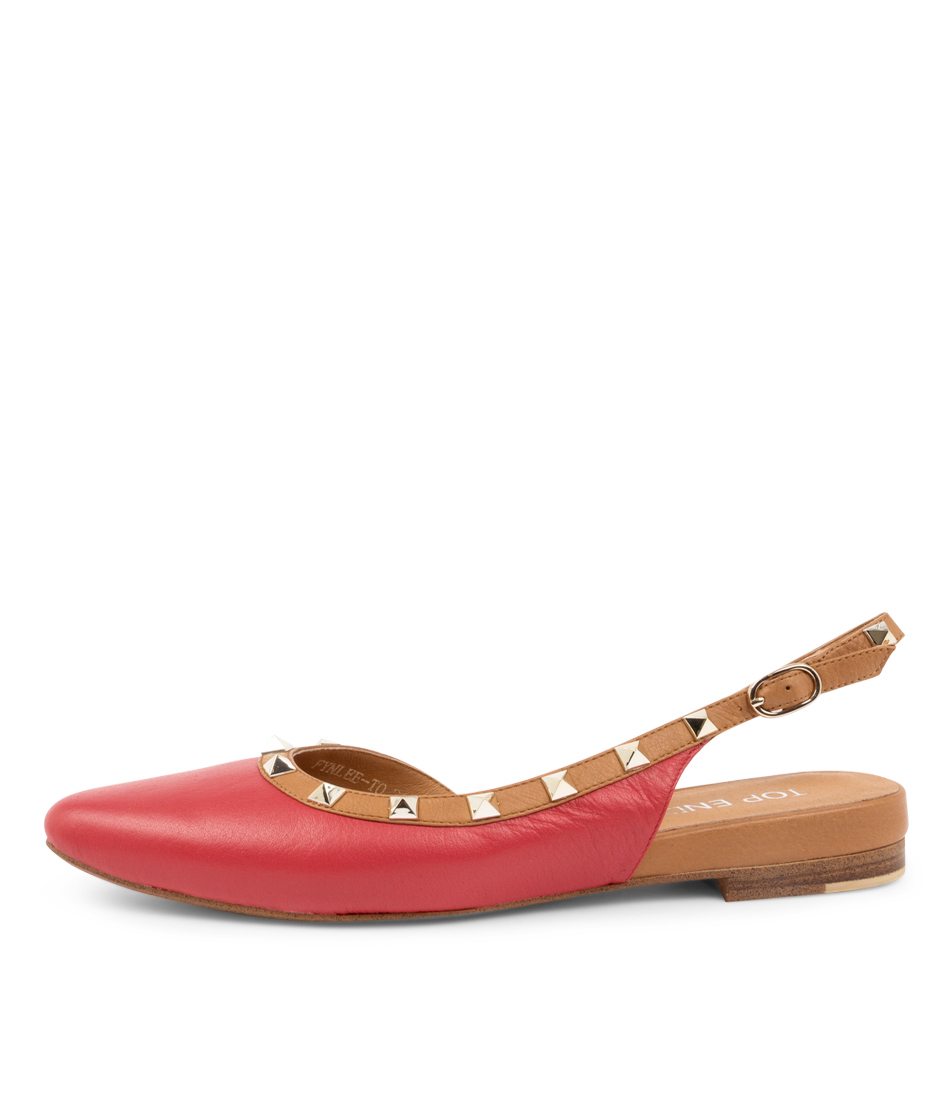 Buy Top End Fynlee To Red Dk Tan Flats online with free shipping
