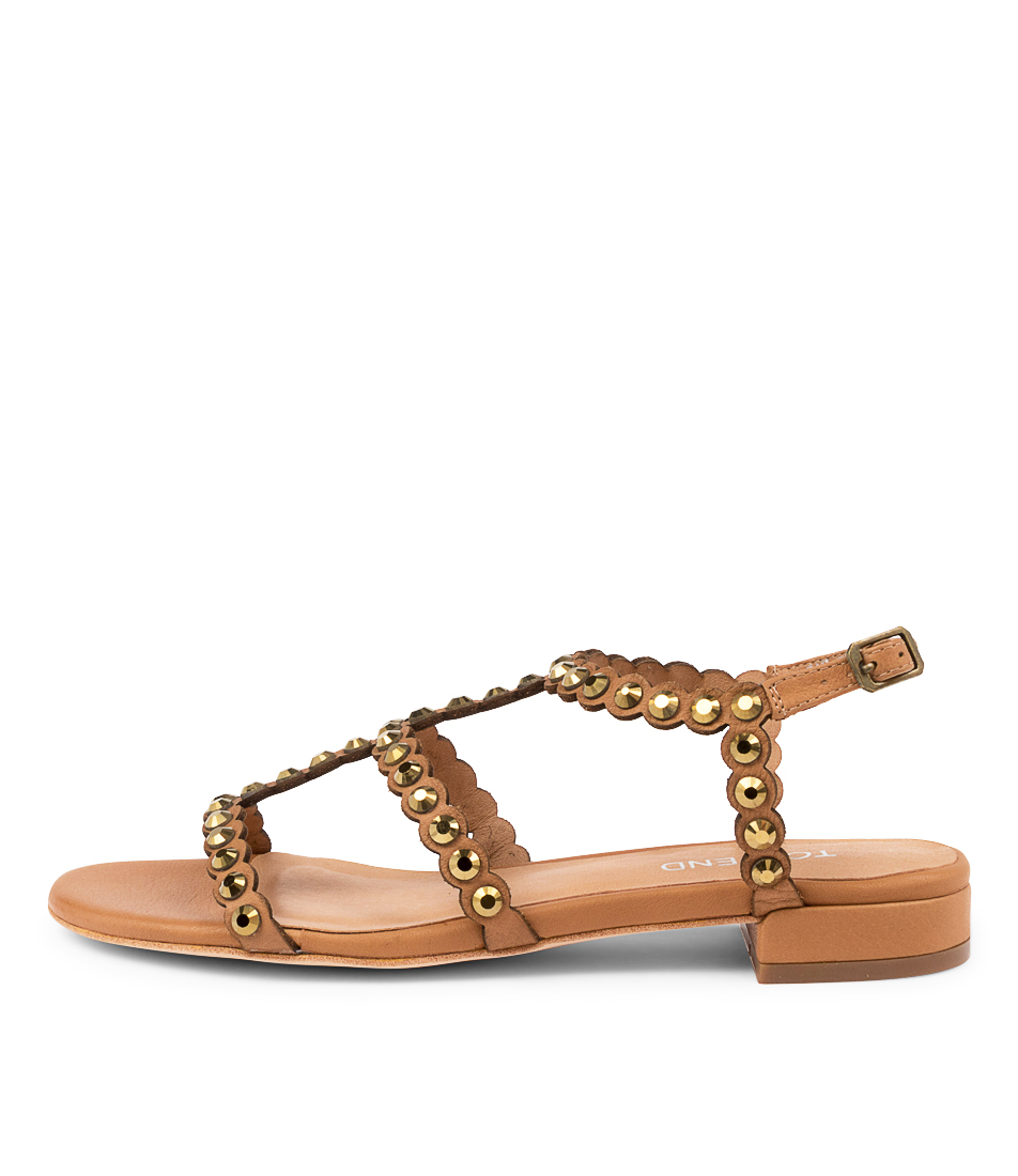 Buy Top End Leah To Tan Bronze Flat Sandals online with free shipping