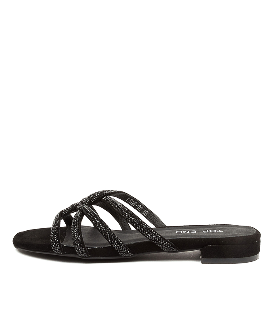 Buy Top End Linley To Black Black Flat Sandals online with free shipping