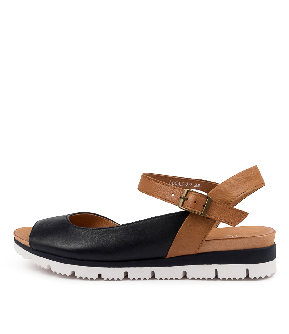 Buy Top End Lucas To Navy Tan Flat Sandals online with free shipping