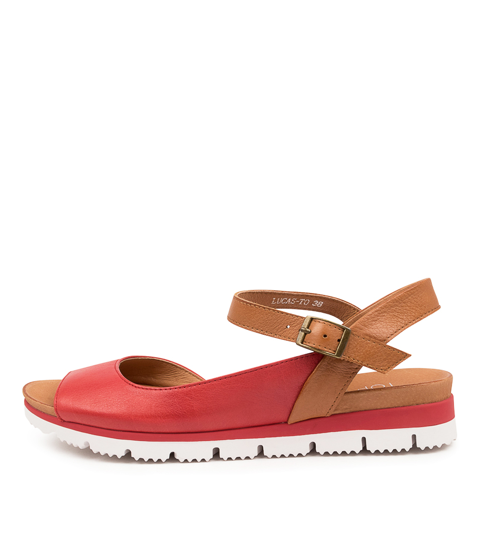 Buy Top End Lucas To Red Scotch Flat Sandals online with free shipping