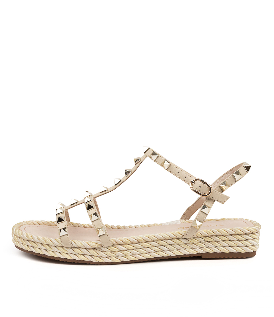 Buy Top End Rayah To Beige Champagne Flat Sandals online with free shipping
