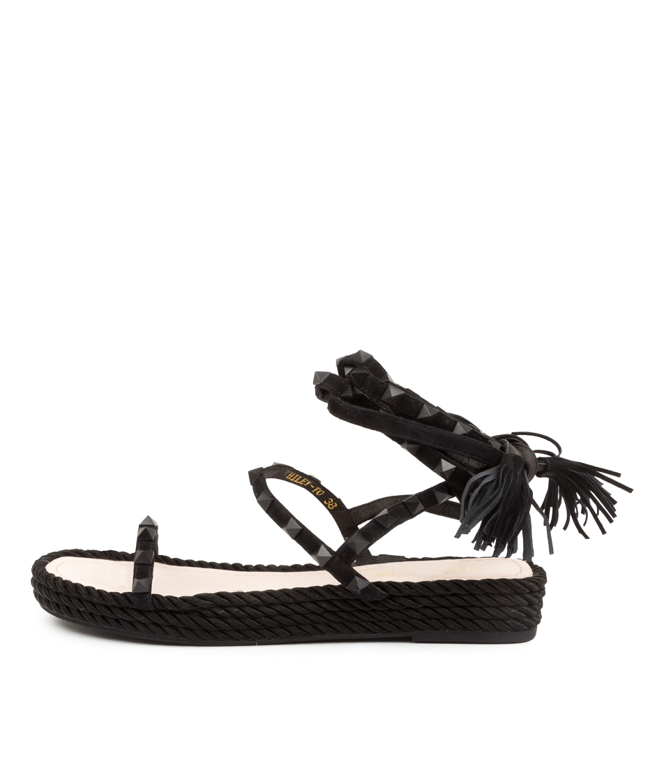Buy Top End Rhiley To Black Black Flat Sandals online with free shipping