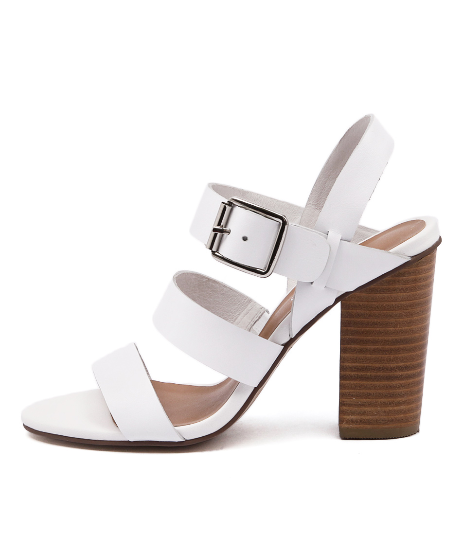 Top End Wizz White Casual Heeled Sandals