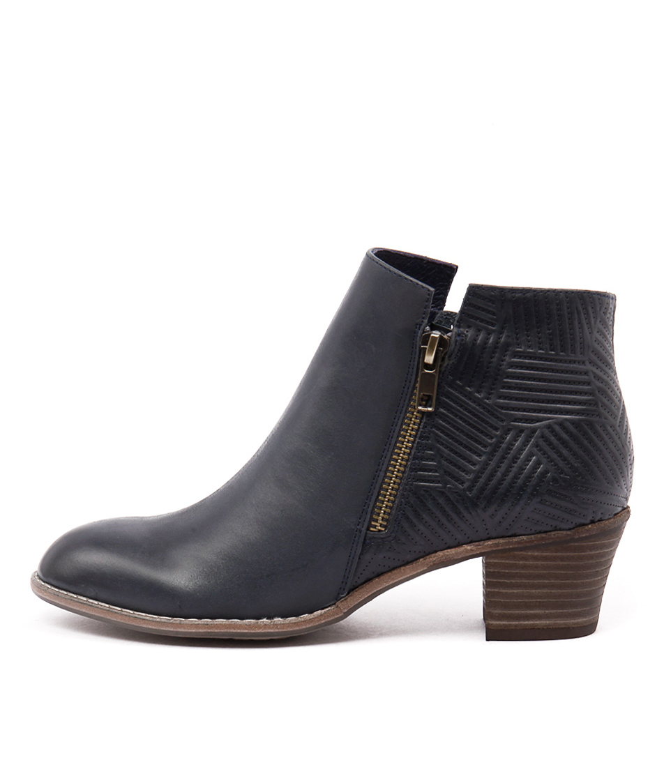 Top End Indy Navy Mix Casual Ankle Boots