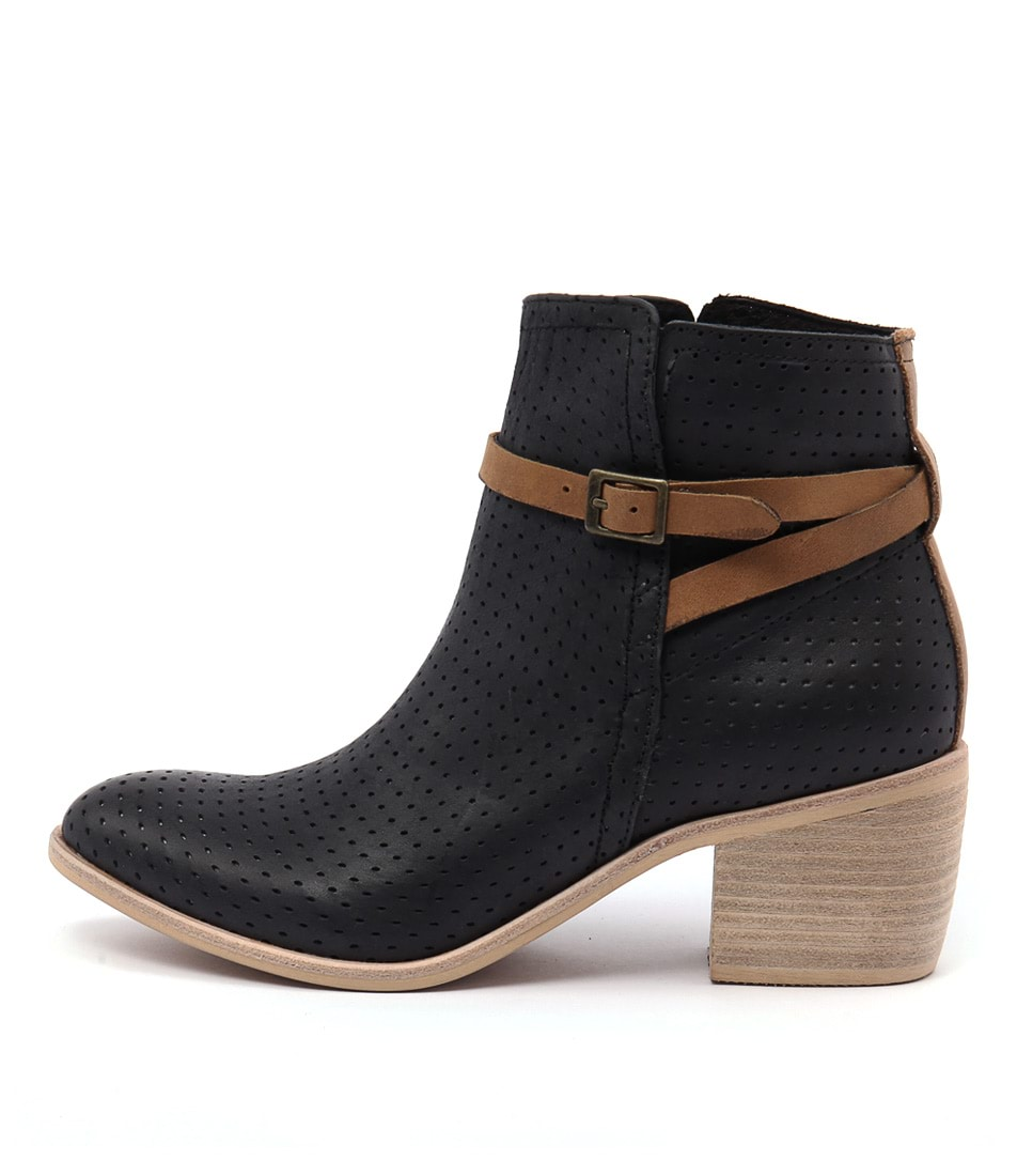 Photo of Top End Oblist Black Tan Strap Ankle Boots, shop Top End ankle boots online