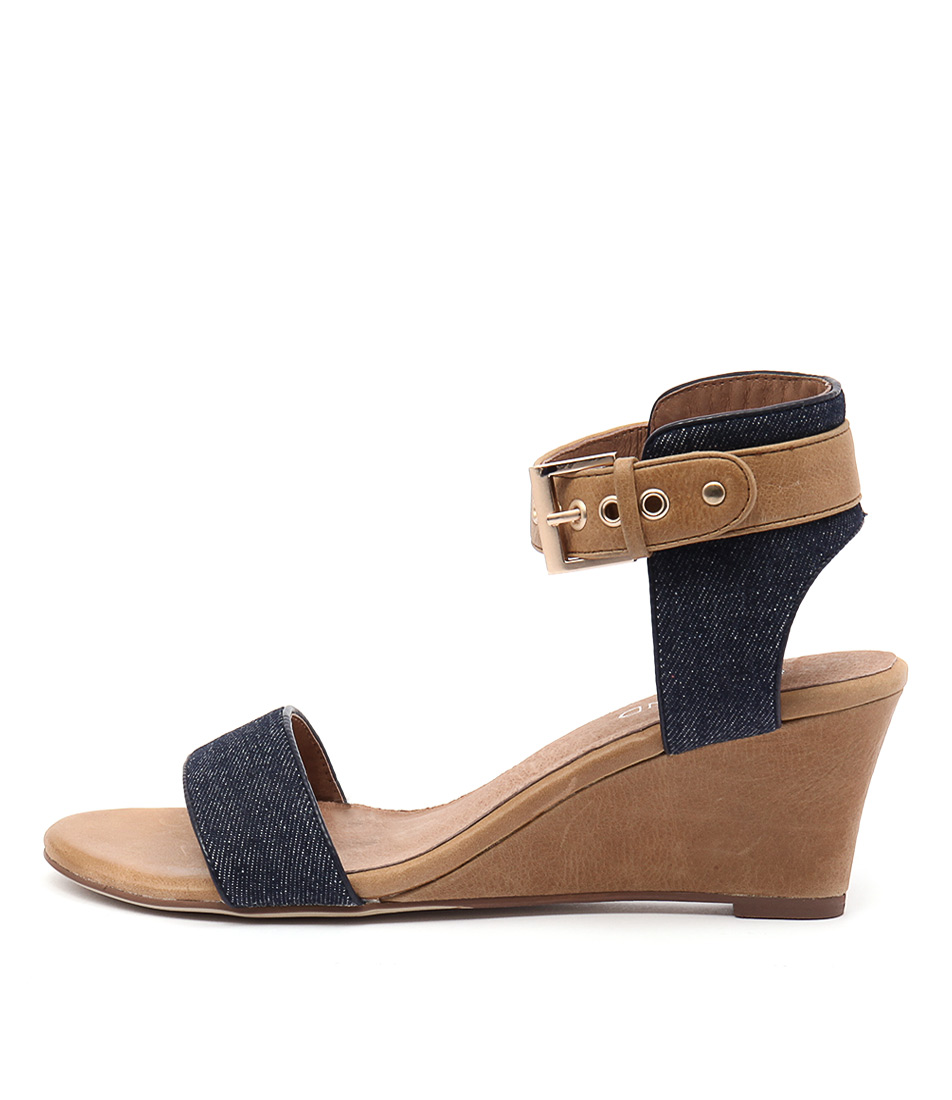 Top End Umbra Dark Denim Tan Heeled Sandals