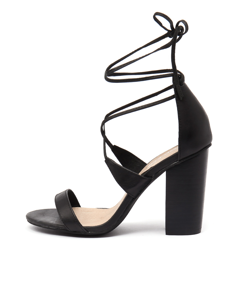 Top End Wascal Black Casual Heeled Sandals
