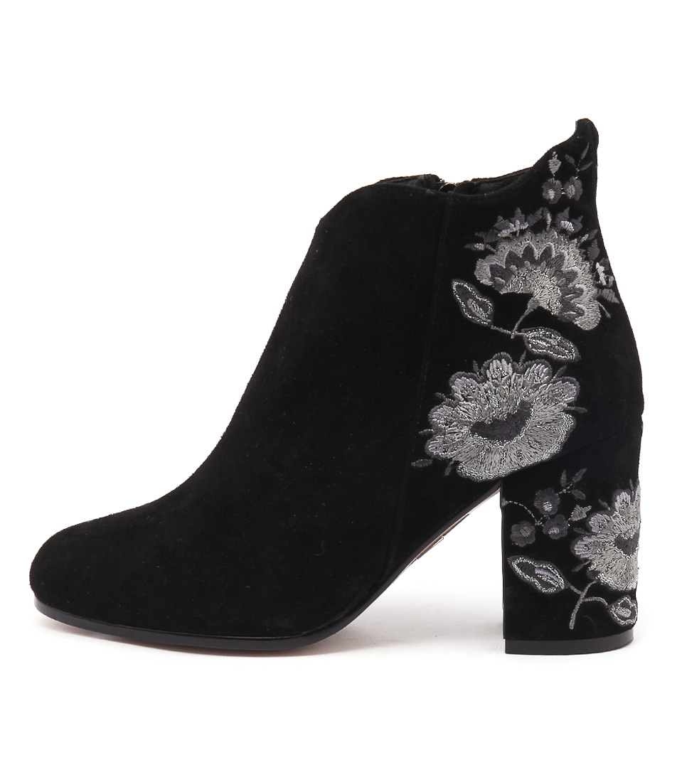 Photo of Top End Waldorf Black Pewter Multi Embroidery Ankle Boots, shop Top End ankle boots online