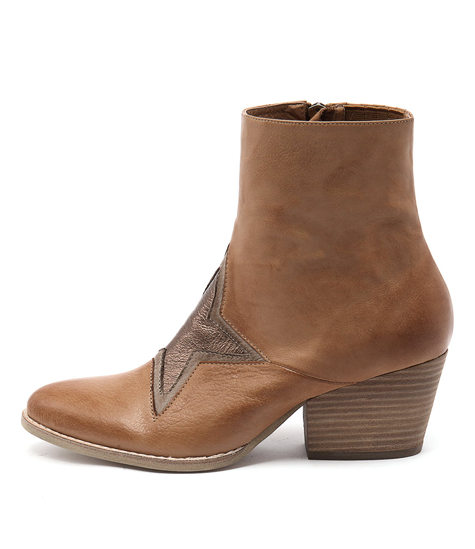 Top End Wallo Dk Tan Ash Bronze Ankle Boots