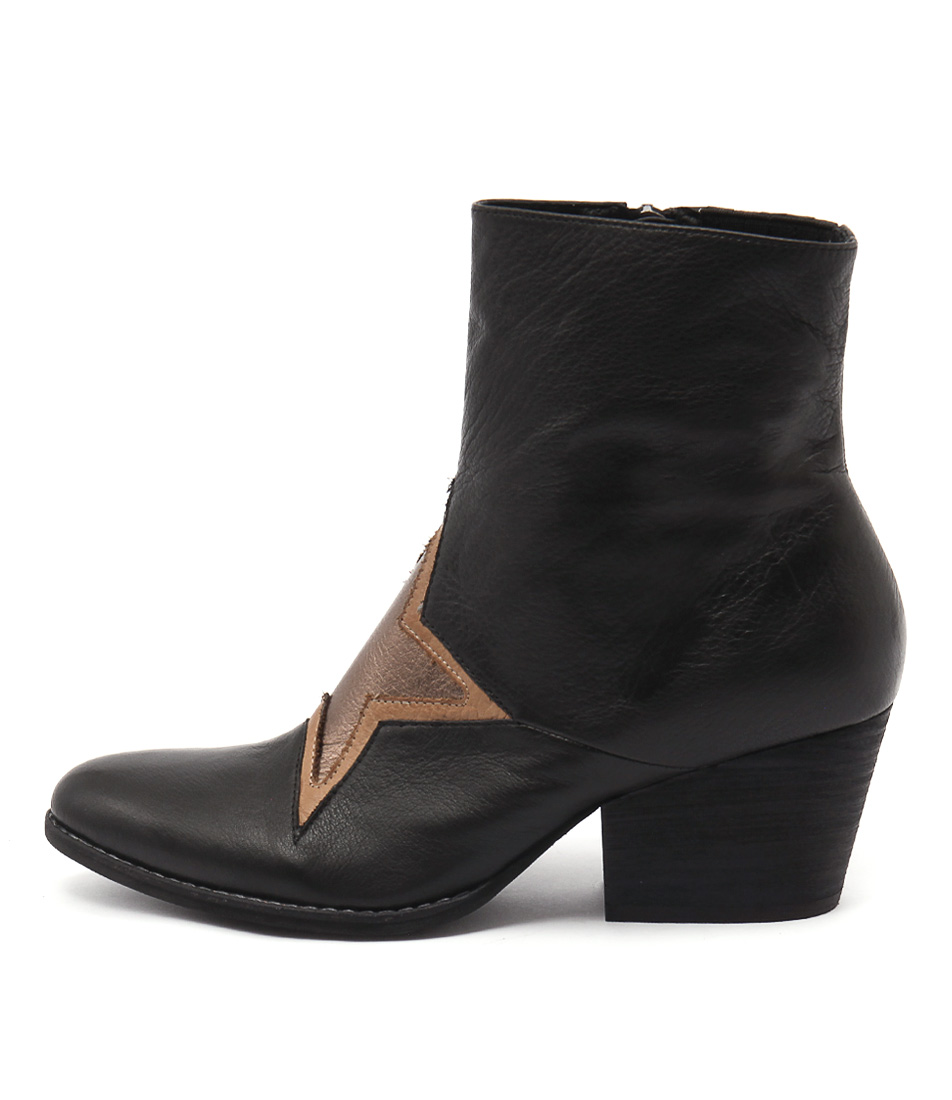 Top End Wallo Black Tan Bronze Casual Ankle Boots