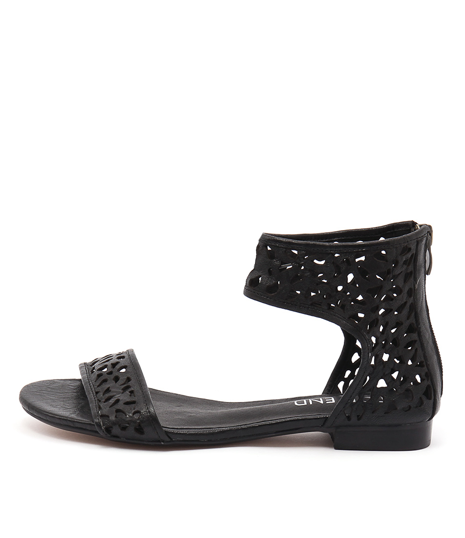 Top End Perfecto Black Casual Flat Sandals