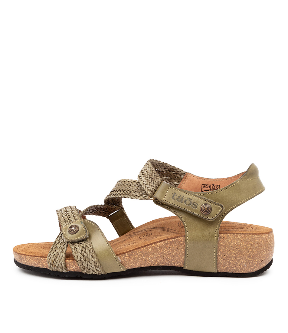 Buy Taos Trulie Herb Green Flat Sandals online with free shipping