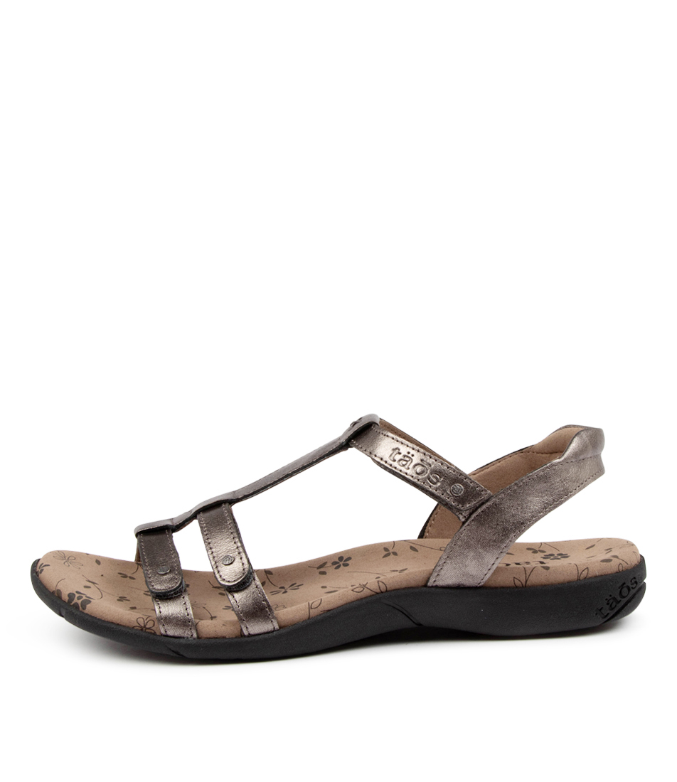 Buy Taos Trophy 2 Ts Pewter Flat Sandals online with free shipping