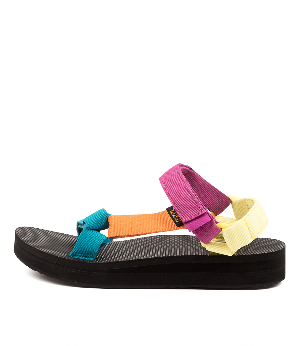 Buy Teva W Midform Universal Tv Retro Multi Flat Sandals online with free shipping