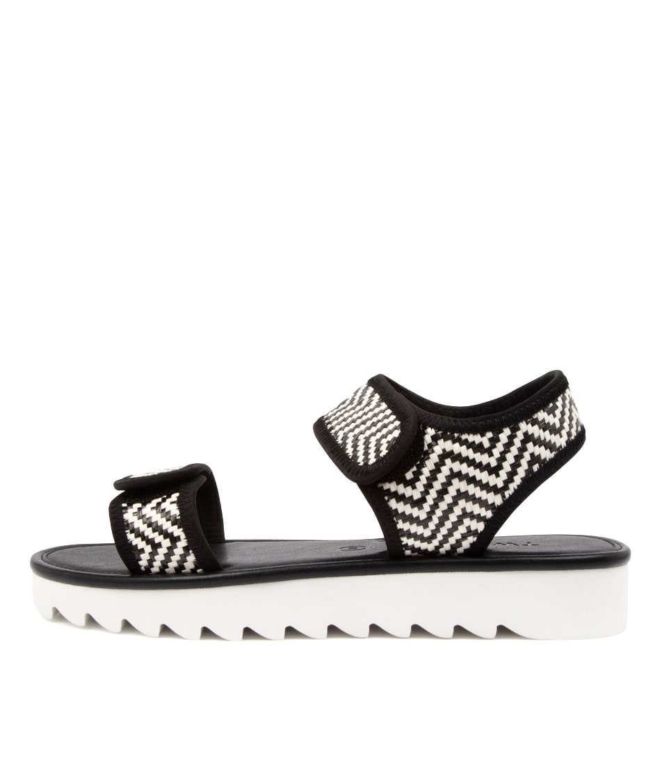 Buy Twoobs Becca Safa Tw Black White Flat Sandals online with free shipping