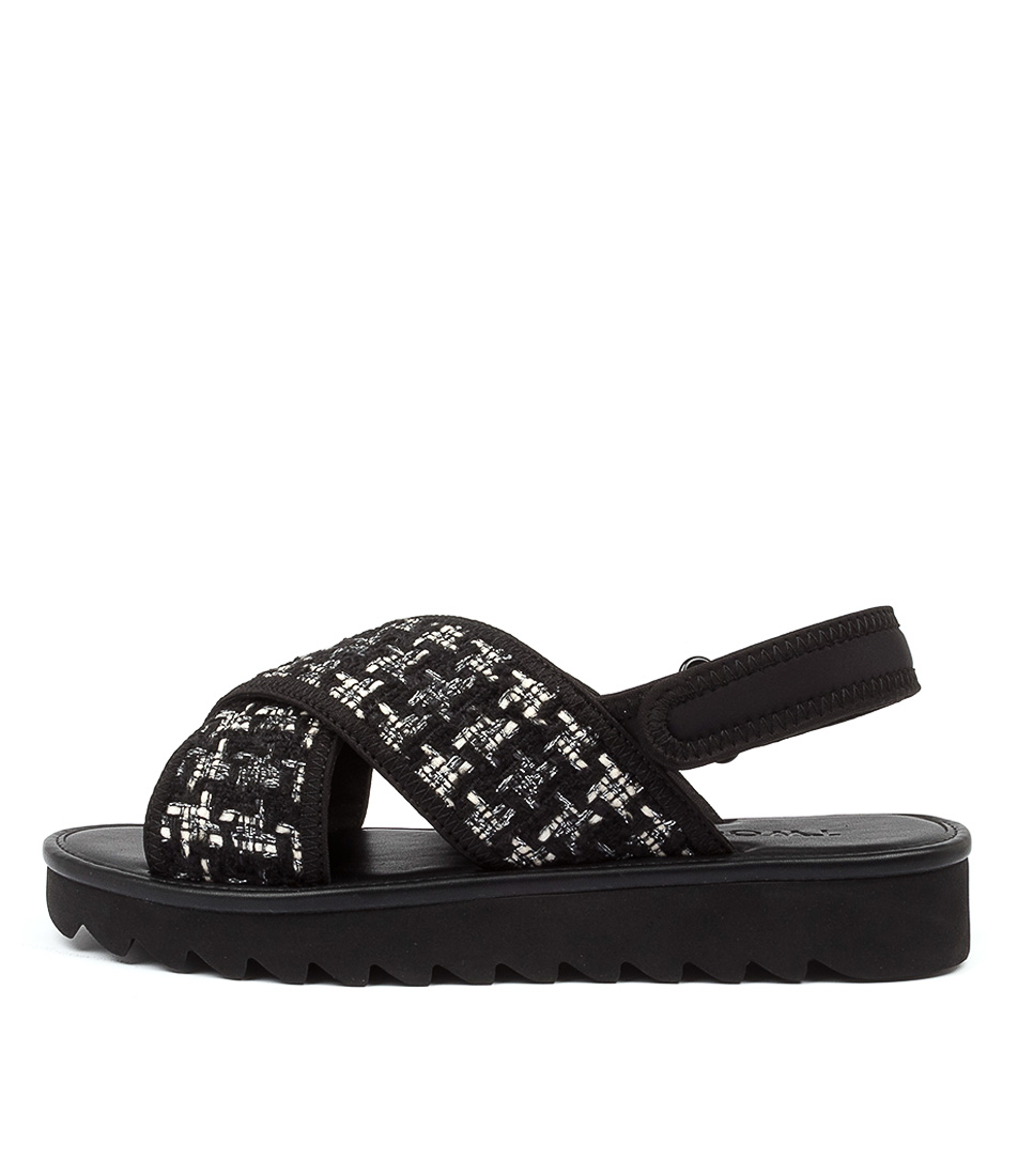 Buy Twoobs Mimi Neenie Tw Black White Flat Sandals online with free shipping