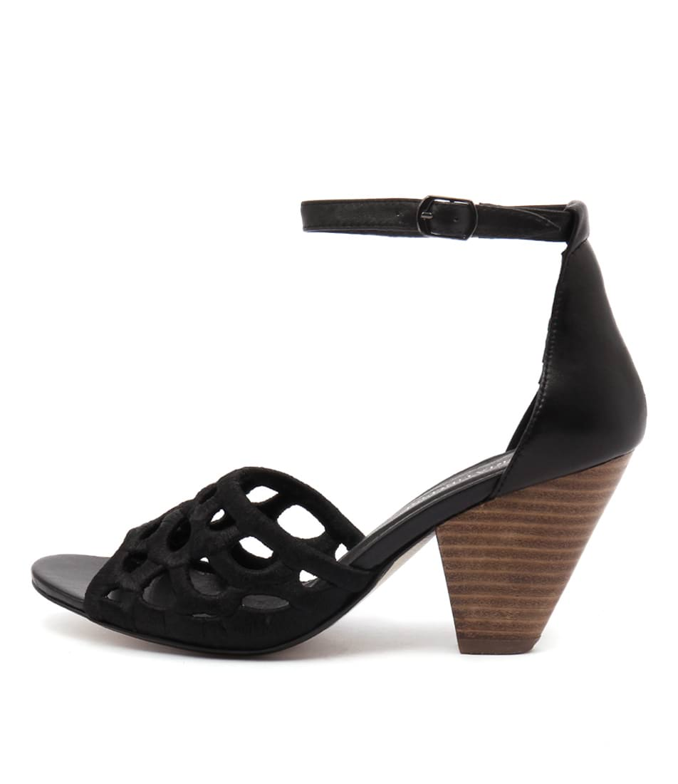 Valeria Grossi Mais Black Black Casual Heeled Sandals