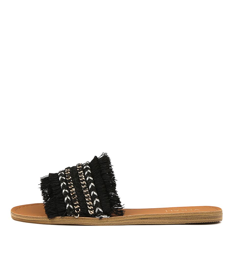 Buy Verali Tobi Black Flat Sandals online with free shipping