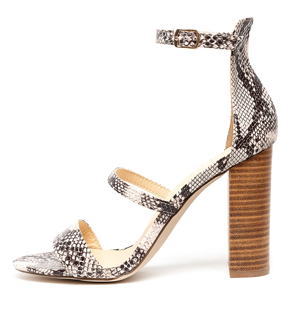 Buy Verali Bubba Natural Snake Heeled Sandals online with free shipping