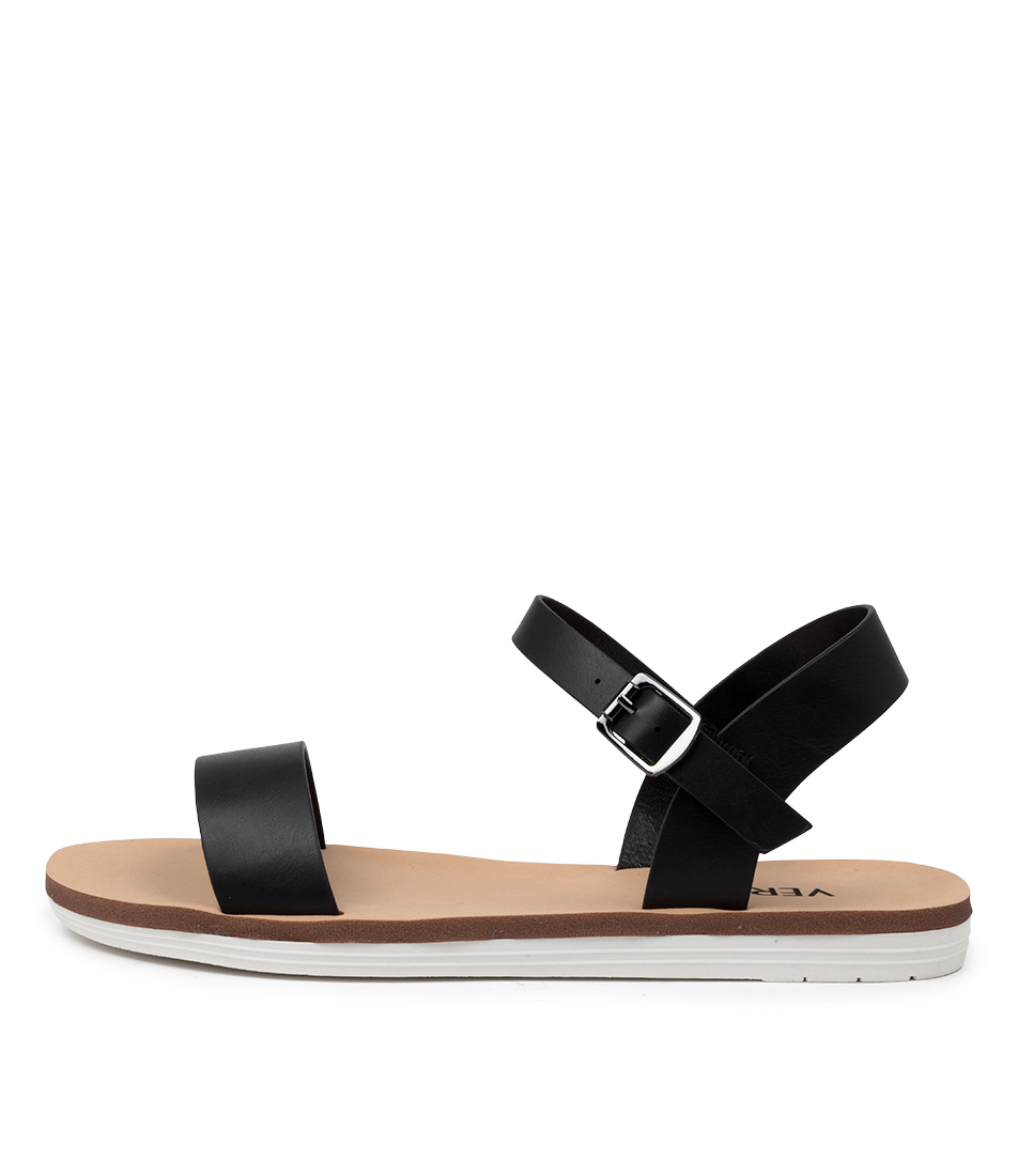 Buy Verali Sass Ve Black Flat Sandals online with free shipping
