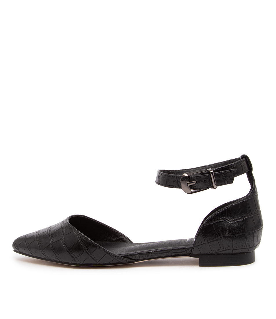 Buy Verali Rukas Ii Ve Black Croco Flats online with free shipping
