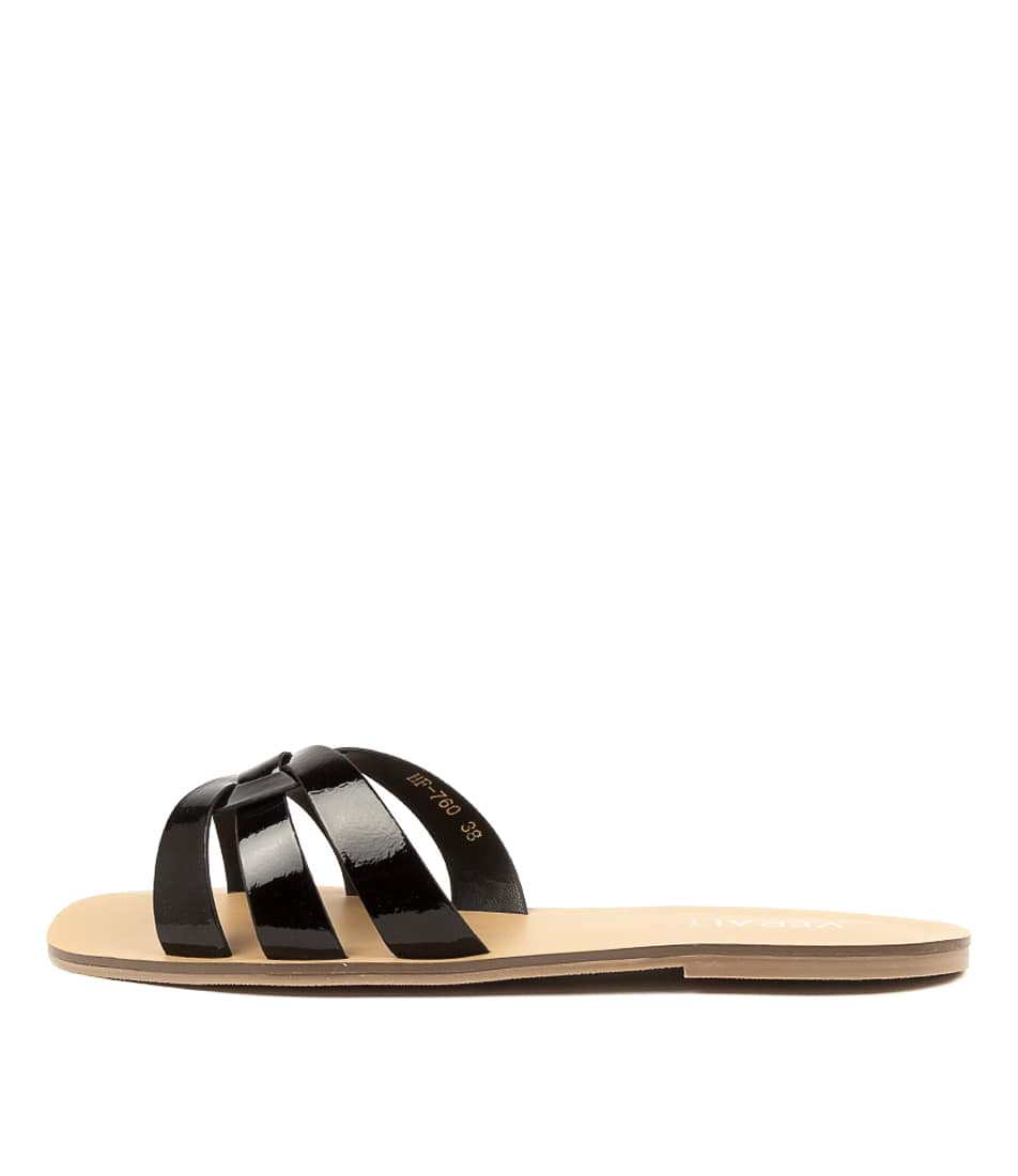 Buy Verali Roulette Ve Black Flat Sandals online with free shipping
