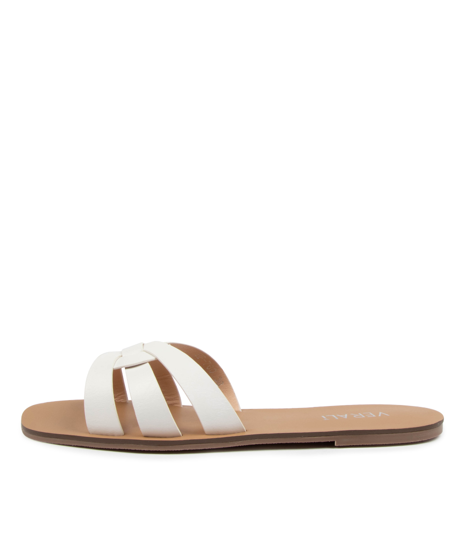 Buy Verali Roulette Ve White Flat Sandals online with free shipping