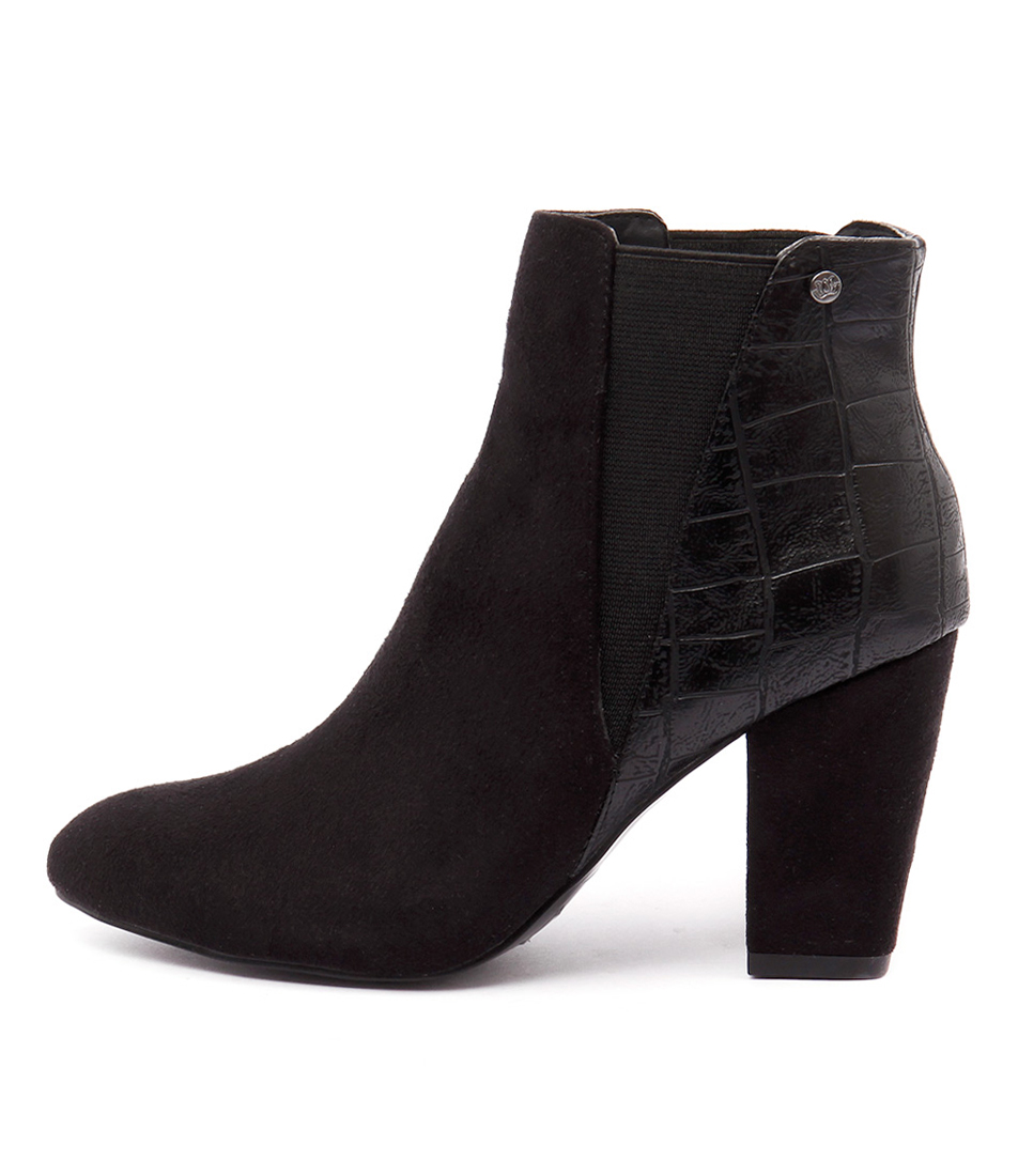 Verali Aviator Black Dress Ankle Boots
