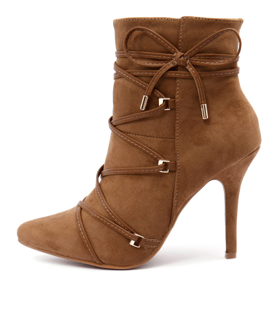 Verali Shania Ve Dark Tan Ankle Boots