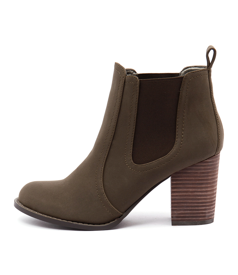 Verali Gia Khaki Casual Ankle Boots
