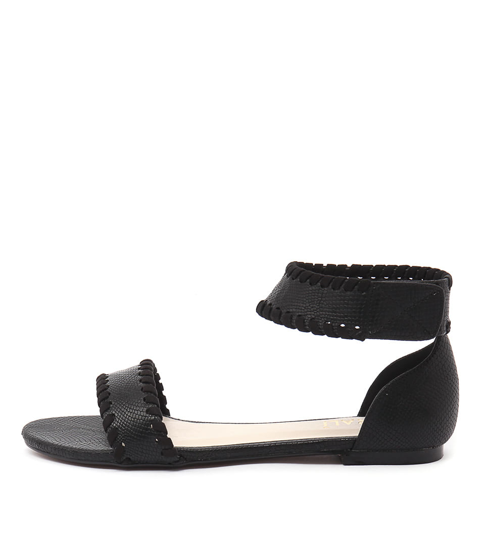 Verali Rome Ve Black Snake Casual Flat Sandals