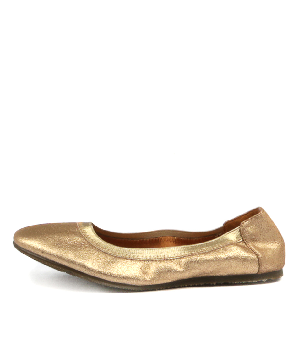 Walnut Ava Ballet Gold Flat Shoes
