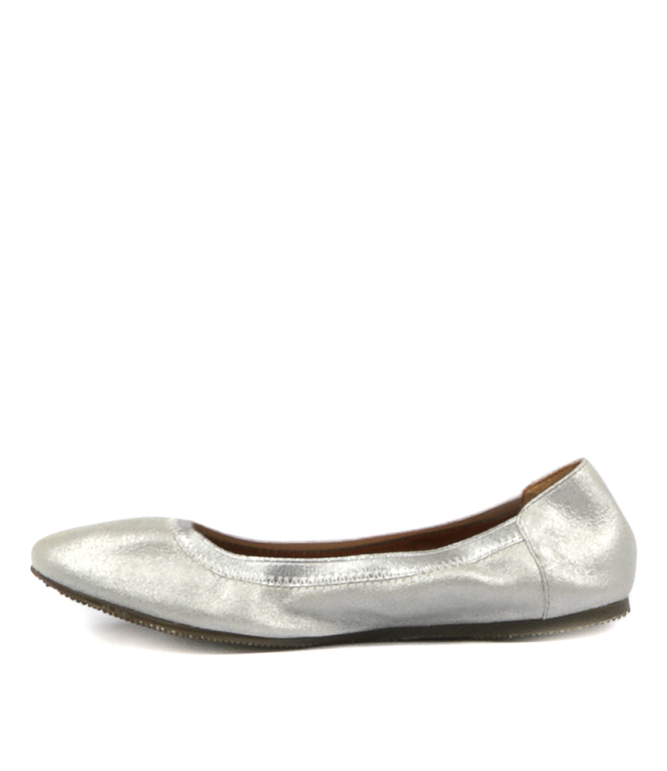 Walnut Ava Ballet Silver Flat Shoes