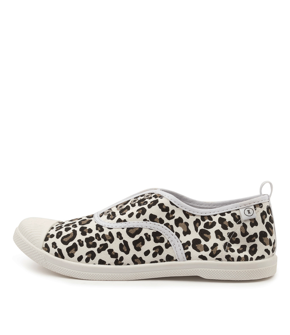 Buy Walnut Euro Plimsole White Leopard Sneakers online with free shipping
