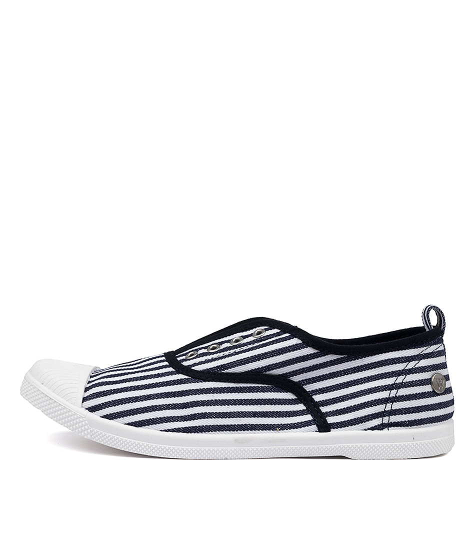 Buy Walnut Euro Plimsole Navy White Stripe Mix Sneakers online with free shipping