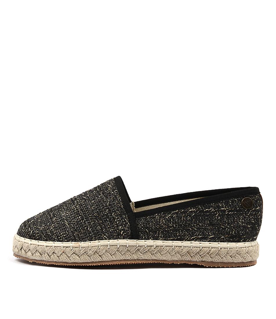 Walnut Georgie Raffia Black Flat Shoes