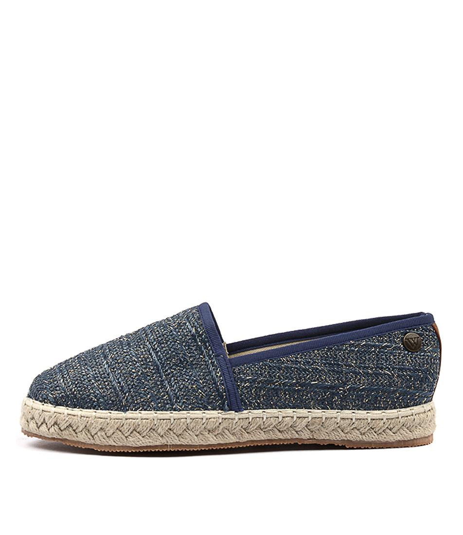 Walnut Georgie Raffia Blue Flat Shoes