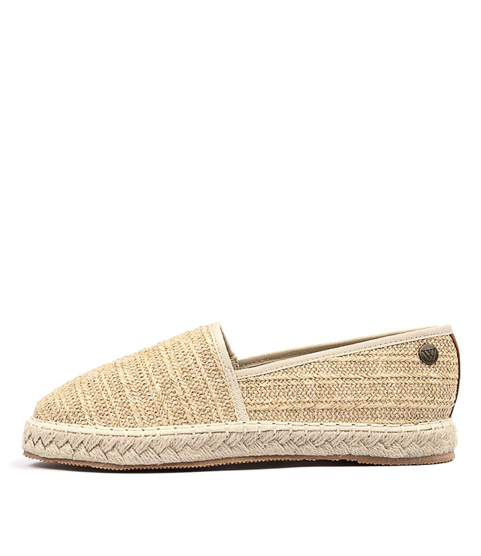 Walnut Georgie Raffia Sand Casual Flat Shoes