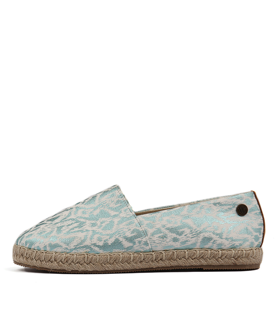 Walnut Moon Splash Espadrille Aqua Flats