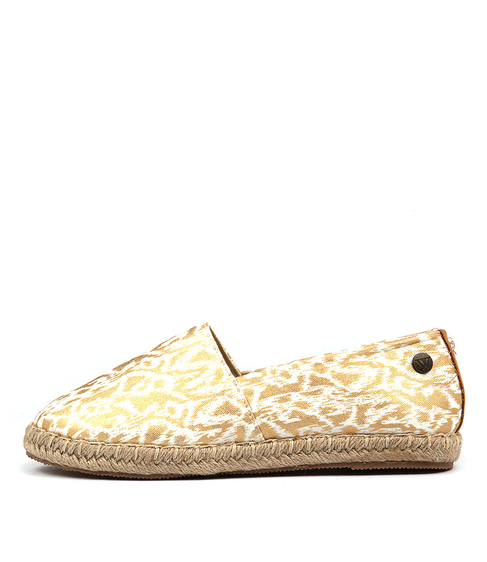 Walnut Moon Splash Espadrille Gold Flats