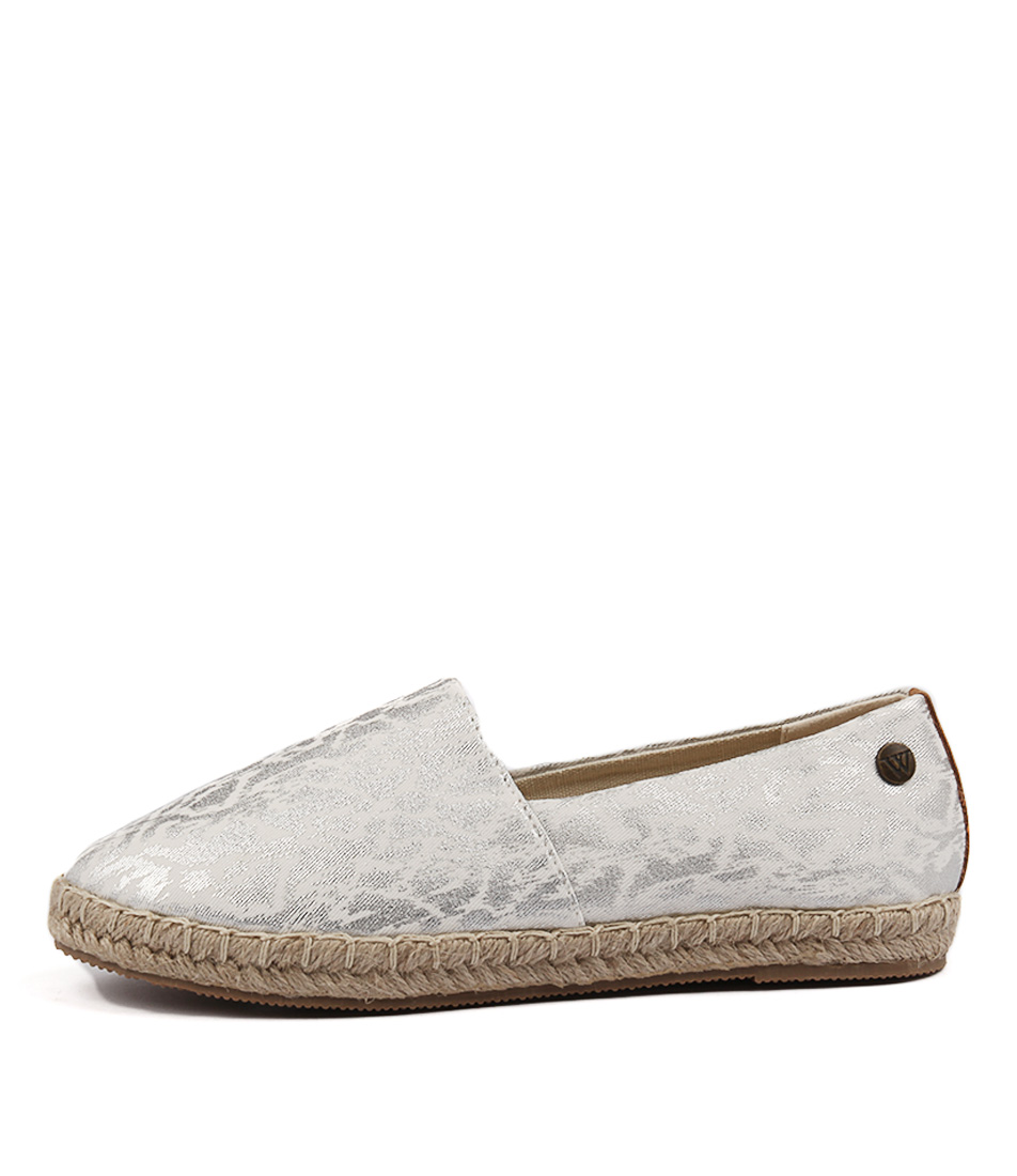 Walnut Moon Splash Espadrille Silver Flats