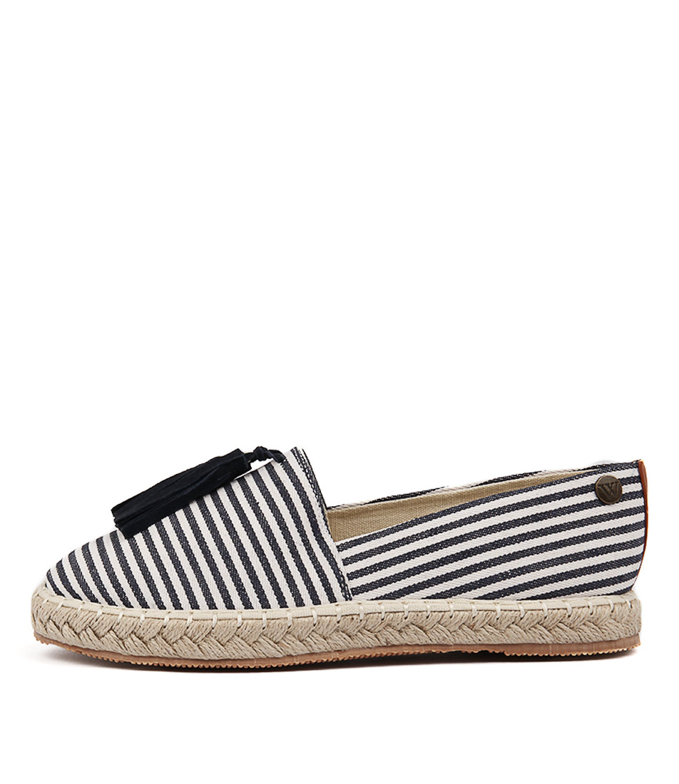 Walnut Georgie Tassel Espadrille Navy White Flat Shoes