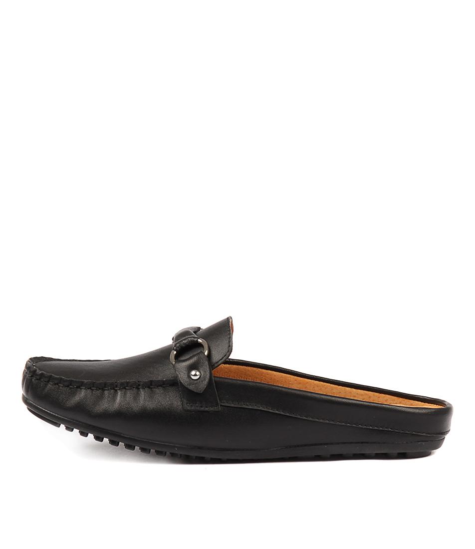 Walnut Coco Leather Slide Black Flat Shoes